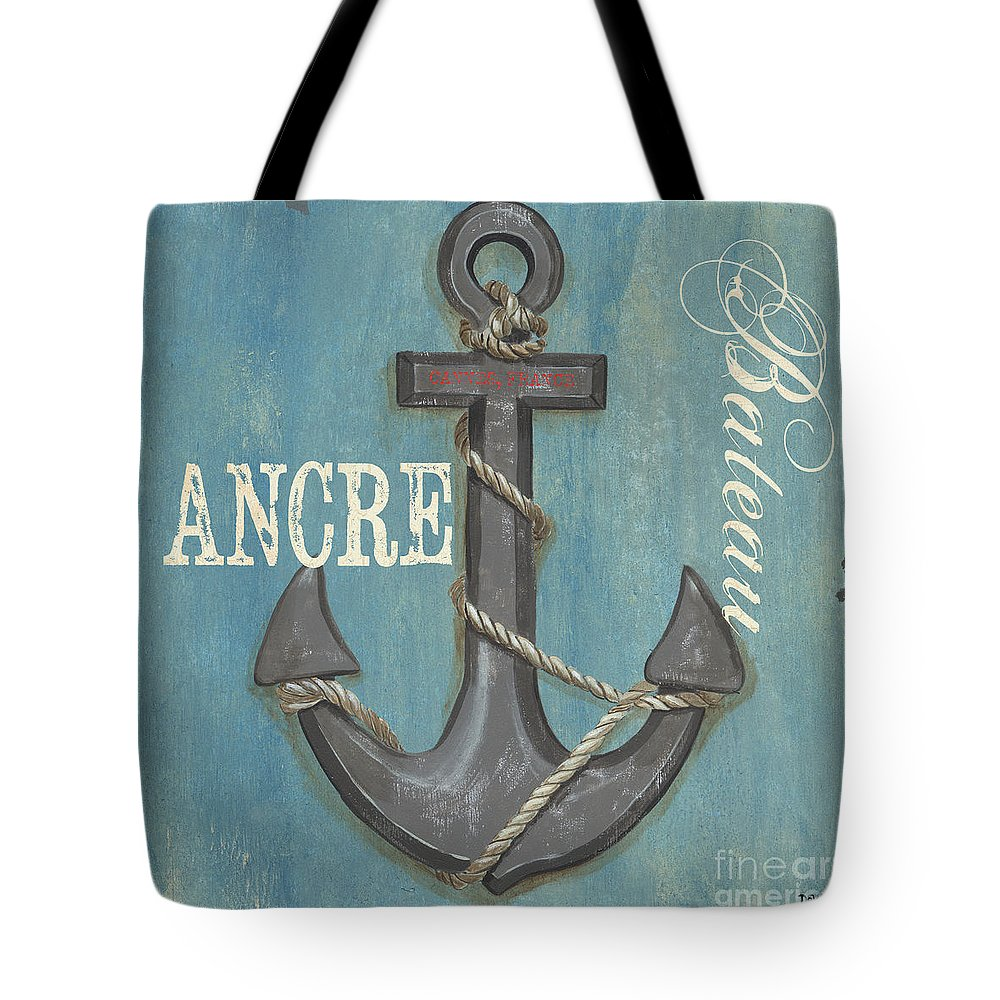Coastal Tote Bag featuring the painting La Mer Ancre by Debbie DeWitt