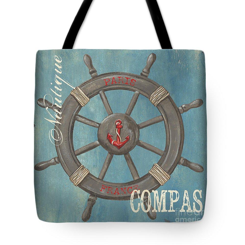 Coastal Tote Bag featuring the painting La Mer Compas by Debbie DeWitt