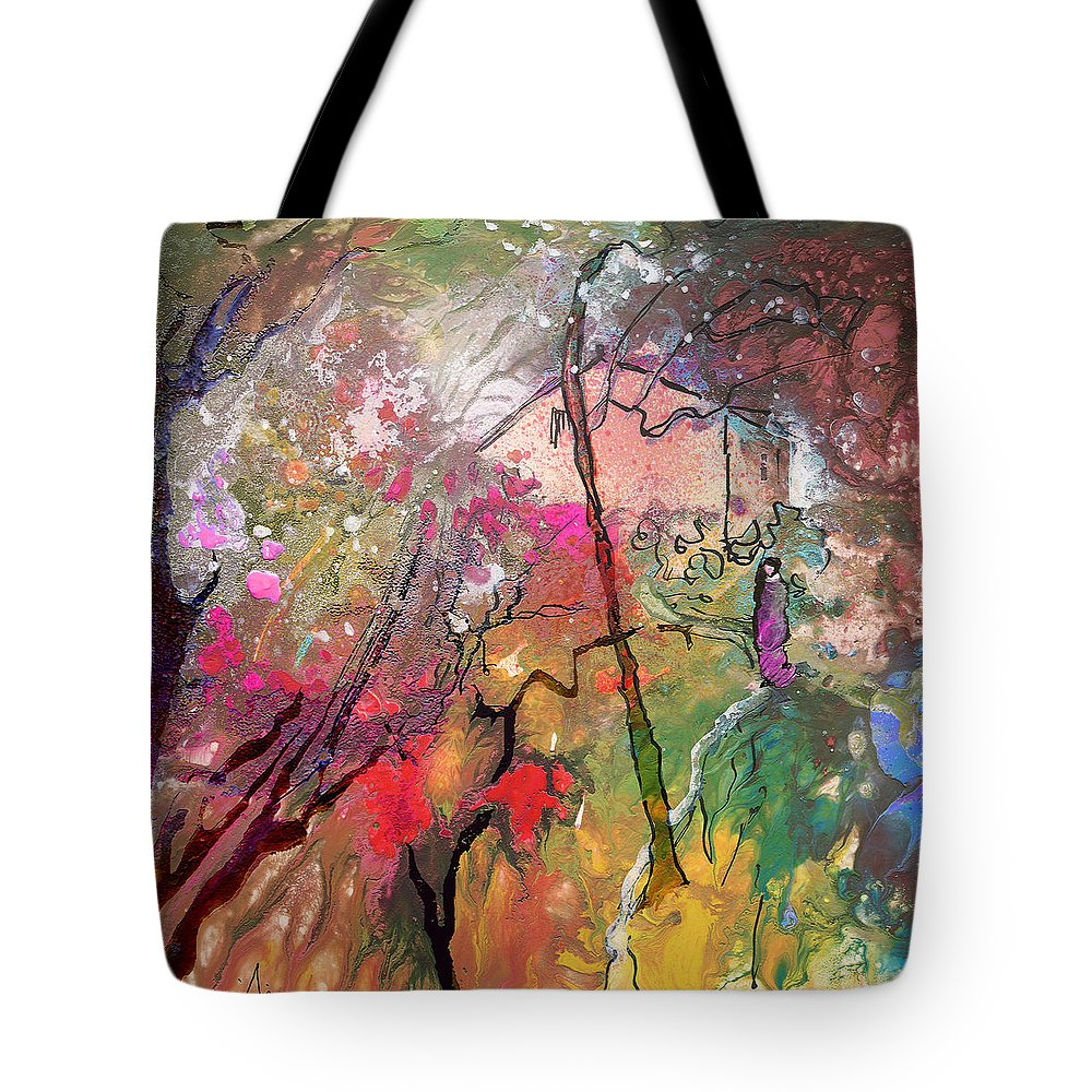 Landscape Tote Bag featuring the painting La Provence 03 by Miki De Goodaboom