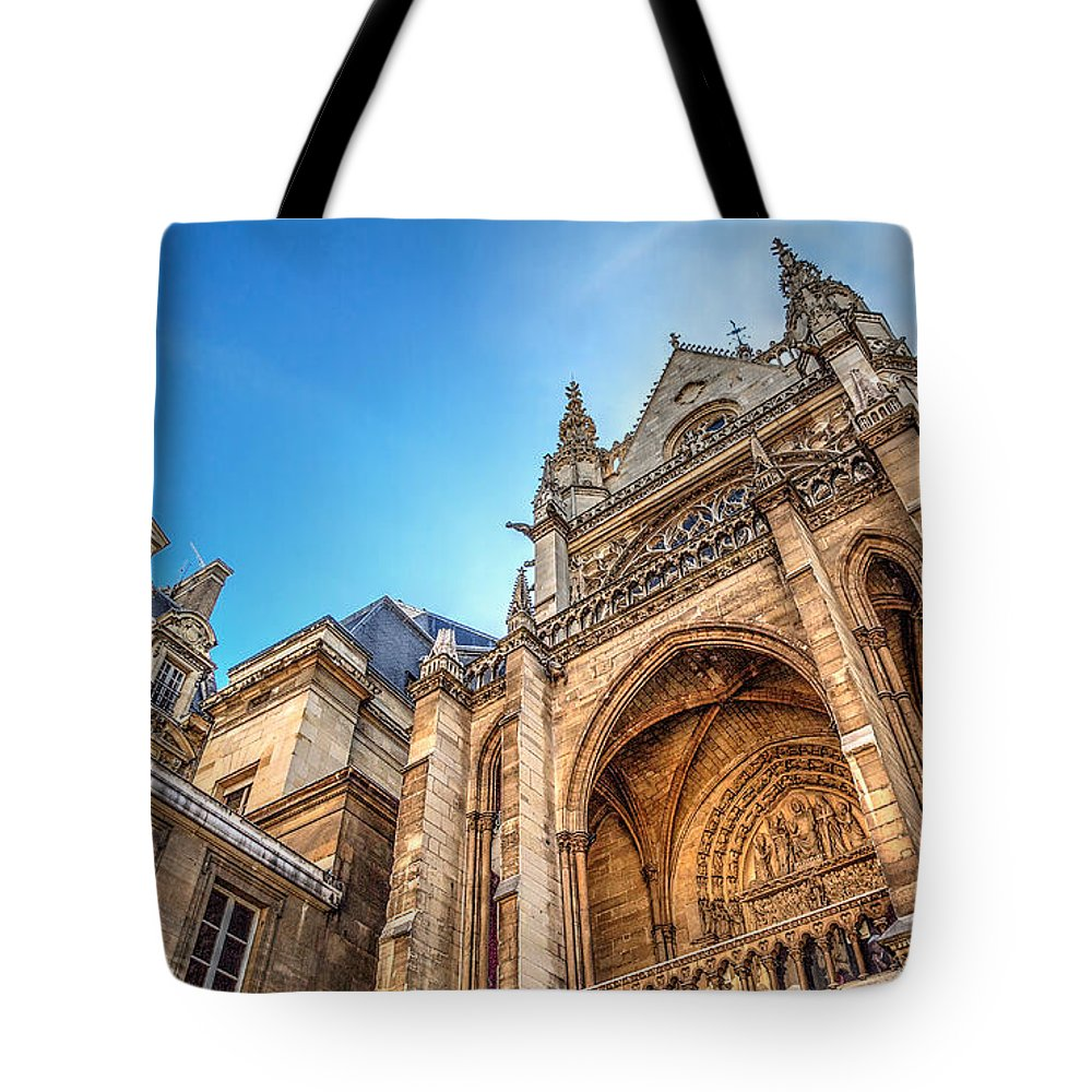 Tim Stanley Tote Bag featuring the photograph La Sainte-chapelle A Contrast In Design by Tim Stanley