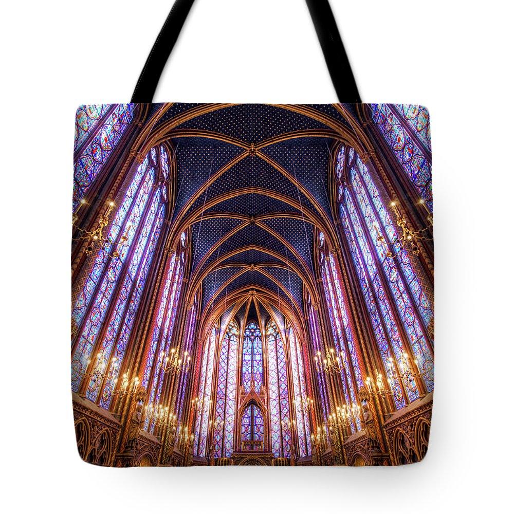 Arch Tote Bag featuring the photograph La Sainte-chapelle Upper Chapel, Paris by Joe Daniel Price