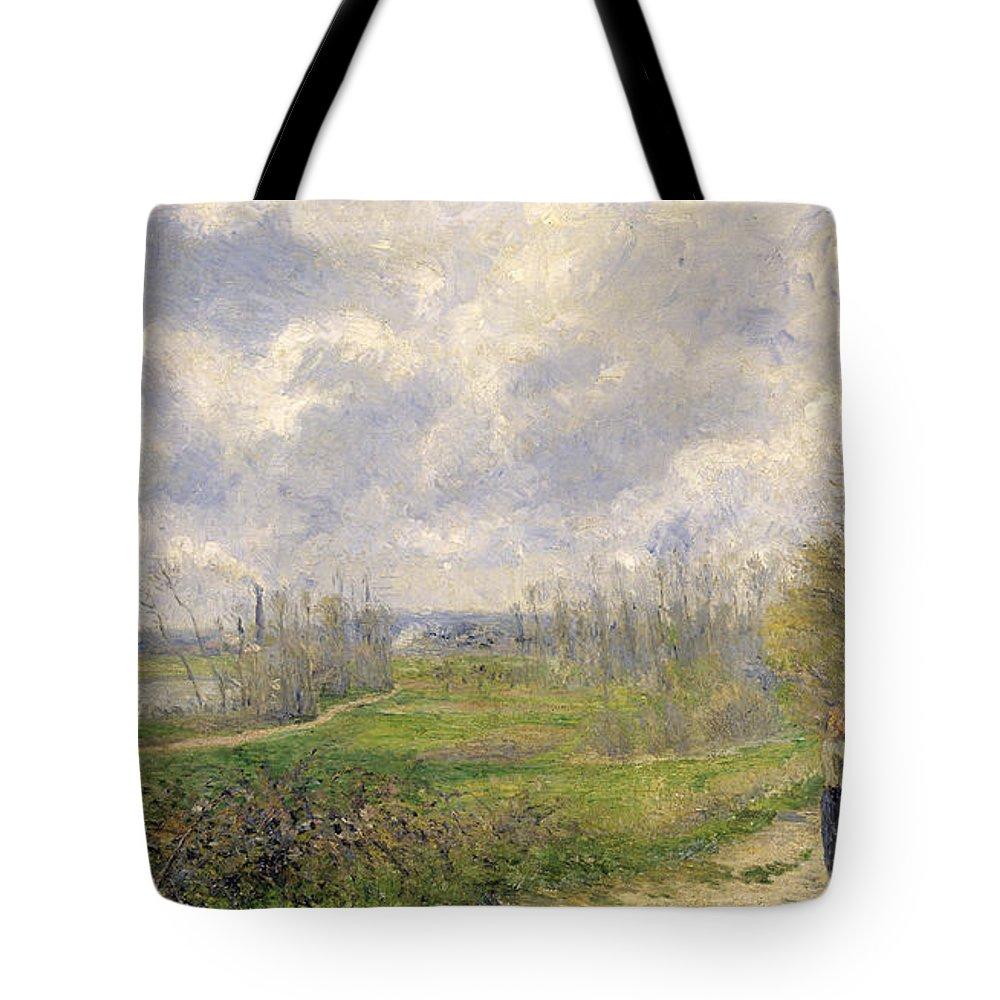 Path Tote Bag featuring the painting La Sente Du Chou Near Pontoise by Camille Pissarro