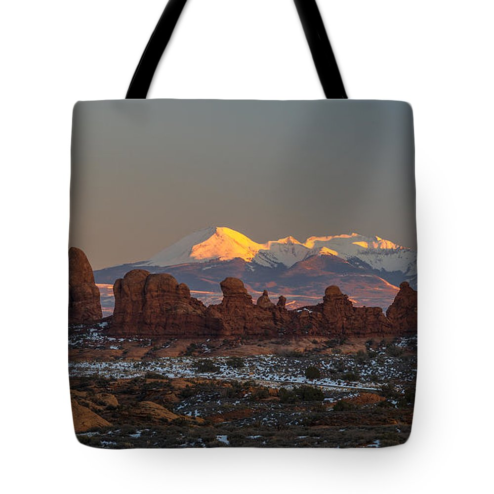 Arches National Park Tote Bag featuring the photograph La Turret by Dustin LeFevre