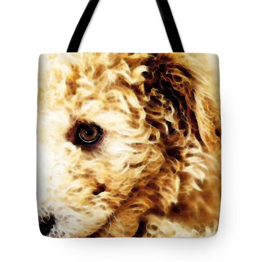Labradoodle Tote Bag featuring the painting Labradoodle Dog Art - Sharon Cummings by Sharon Cummings