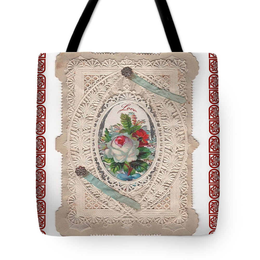 Vinage Valentine Tote Bag featuring the photograph Lace And Roses by Nancy Patterson