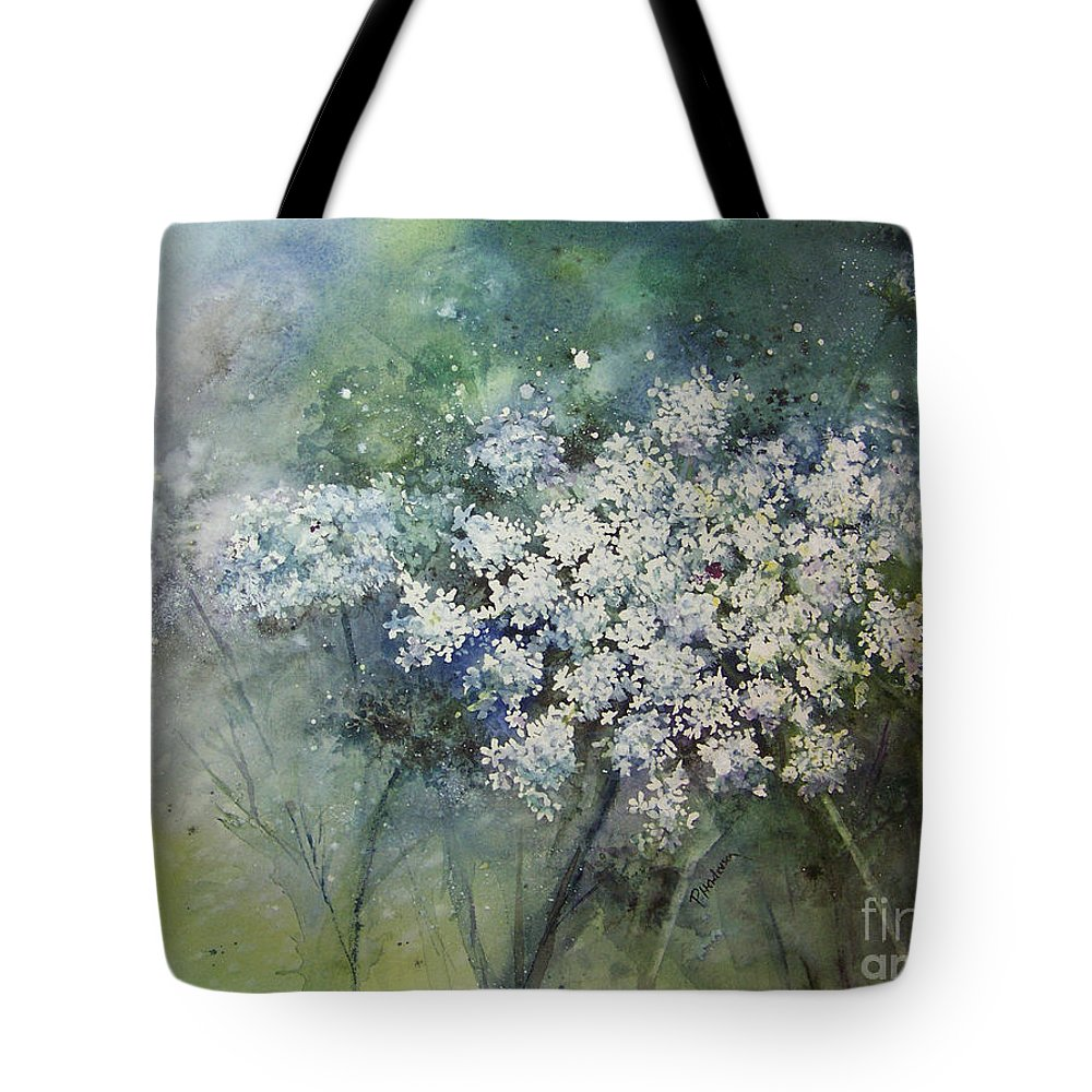 Queen Anne Tote Bag featuring the painting Lace by Patricia Henderson