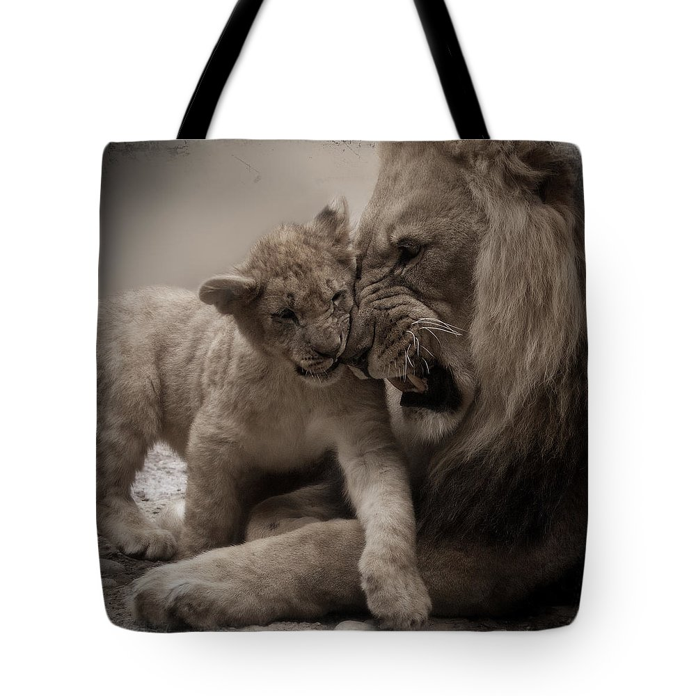Lion Tote Bag featuring the photograph Lack Of Respect by Christine Sponchia