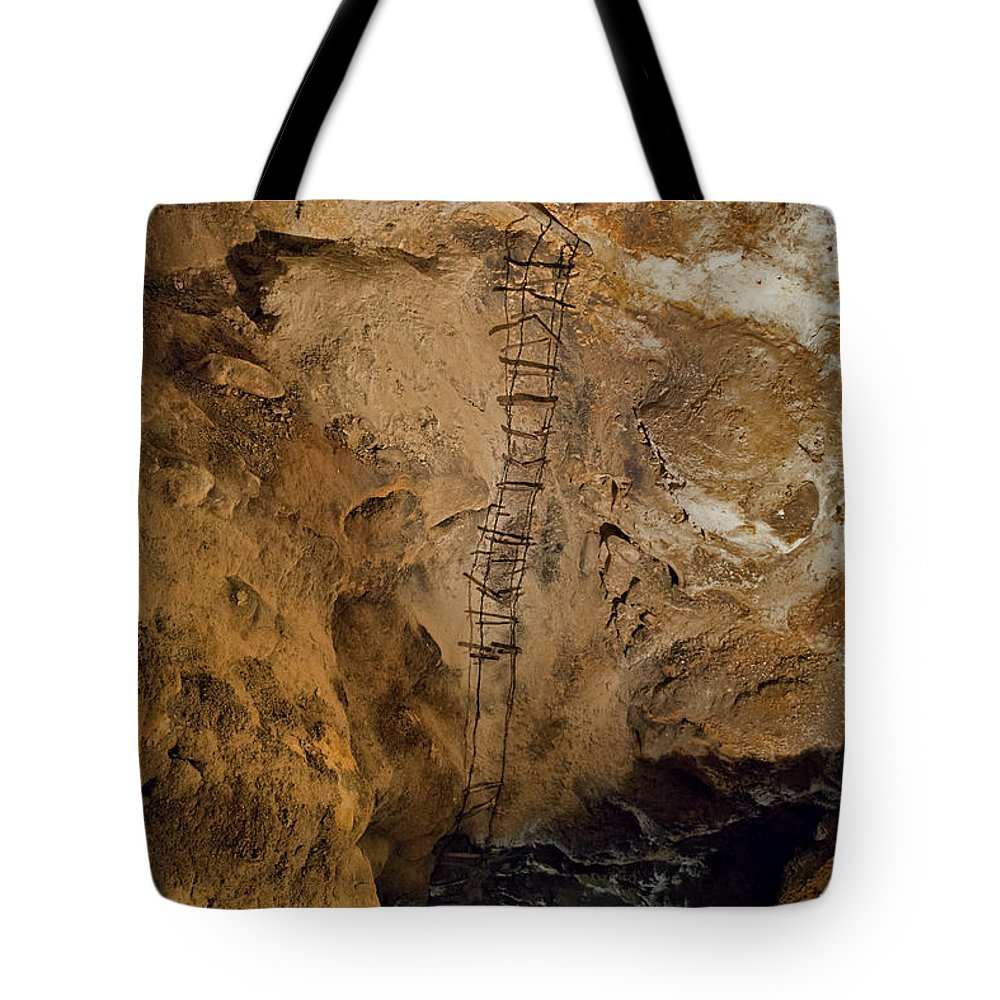 Spelunking Tote Bag featuring the photograph Ladder To The Center Of The Earth by David Arment
