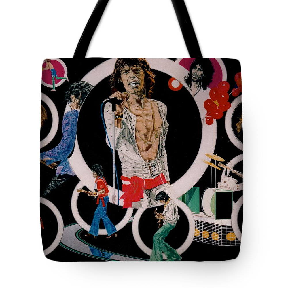 Mick Jagger;keith Richards;brian Jones;charlie Watts;bill Wyman;rock & Roll;music;guitars;water Tote Bag featuring the drawing Ladies And Gentlemen - The Rolling Stones by Sean Connolly