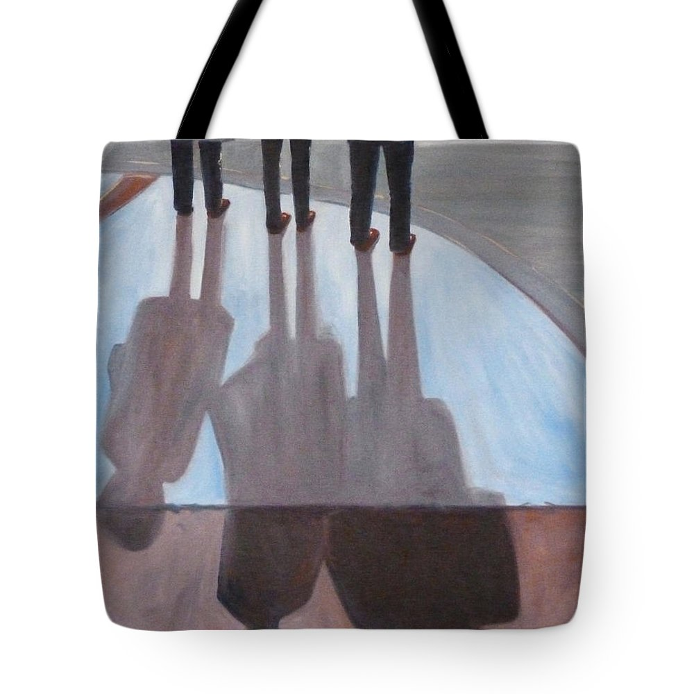 Oregon Tote Bag featuring the painting Ladies In Red Shoes by Nancy Merkle