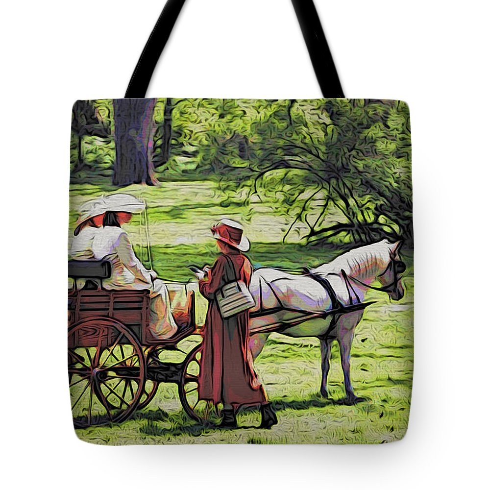 Horse Tote Bag featuring the photograph Ladies In The Meadow by Alice Gipson