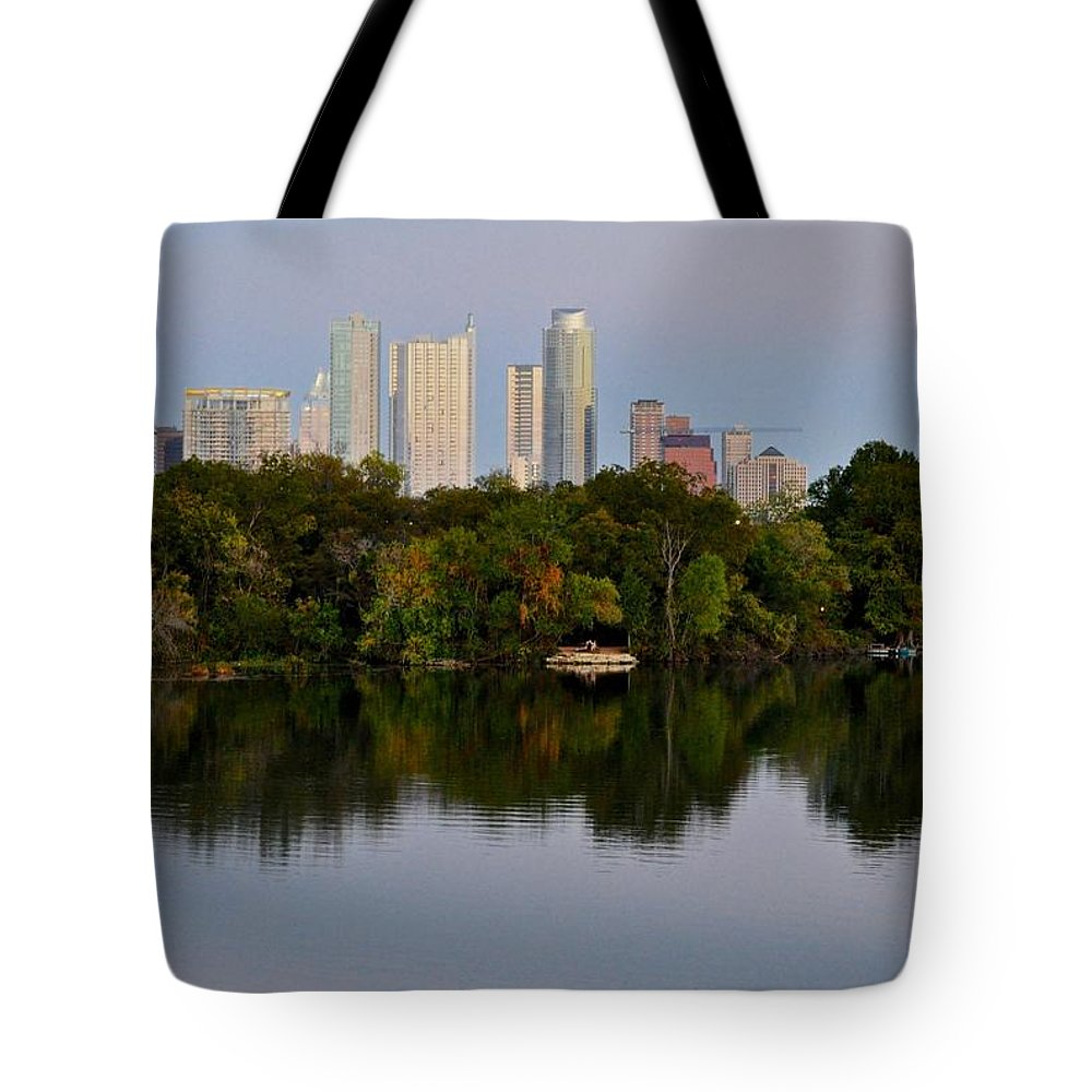 Lady Bird Lake Tote Bag featuring the photograph Lady Bird Lake In Austin Texas by Kristina Deane