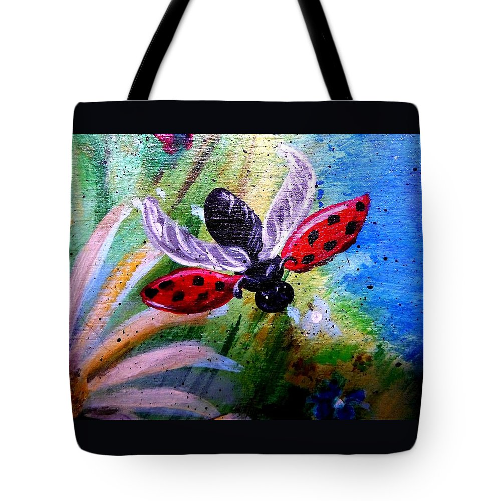Lady Bug Tote Bag featuring the painting Lady Bug Landing by Dori Anderson