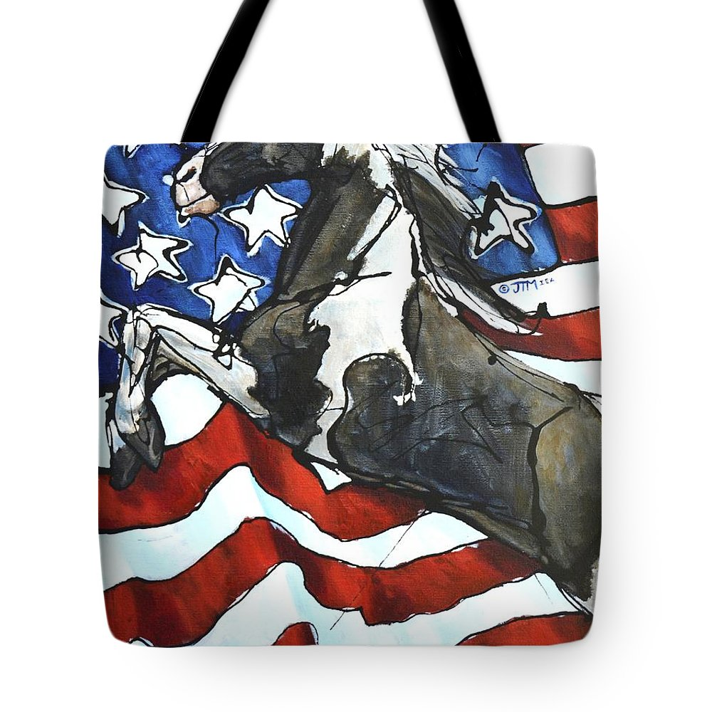 Friends Of Sound Horses Tote Bag featuring the painting Lady C Salutes by Jonelle T McCoy