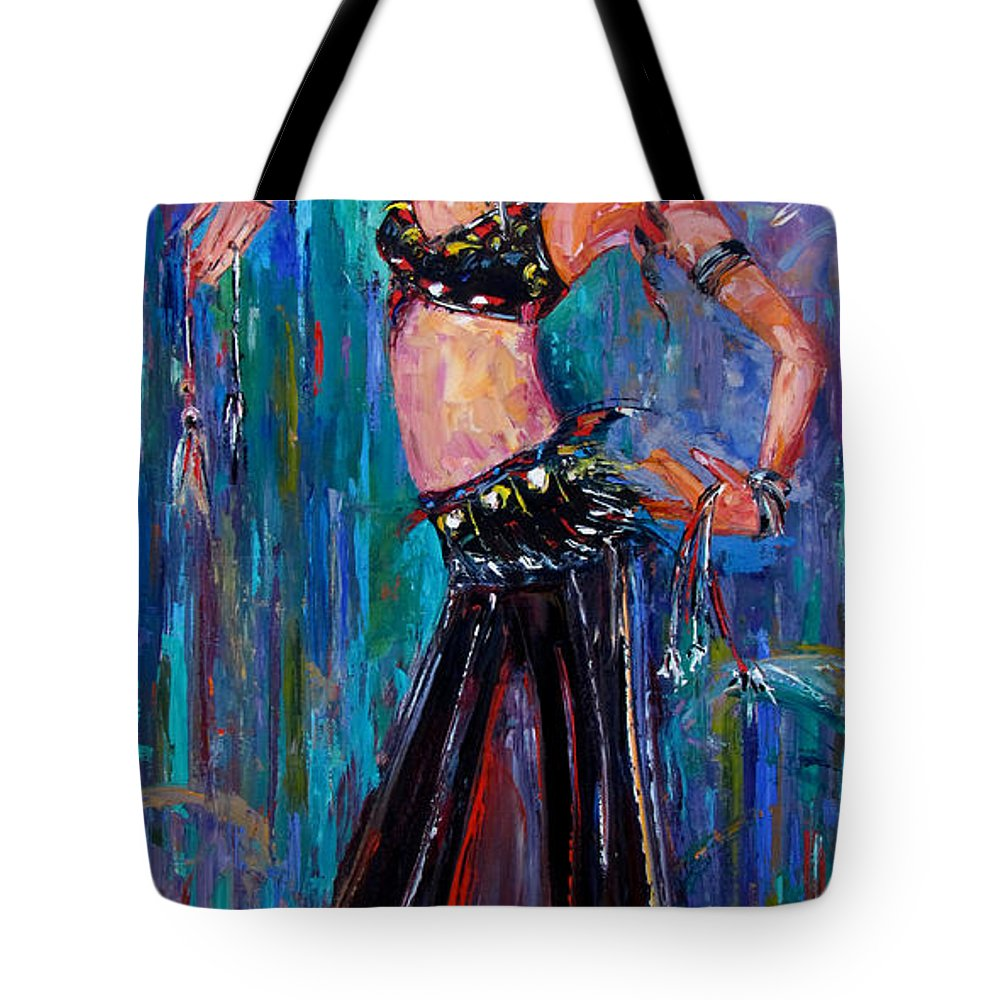 Belly Dancer Tote Bag featuring the painting Lady Dance by Debra Hurd
