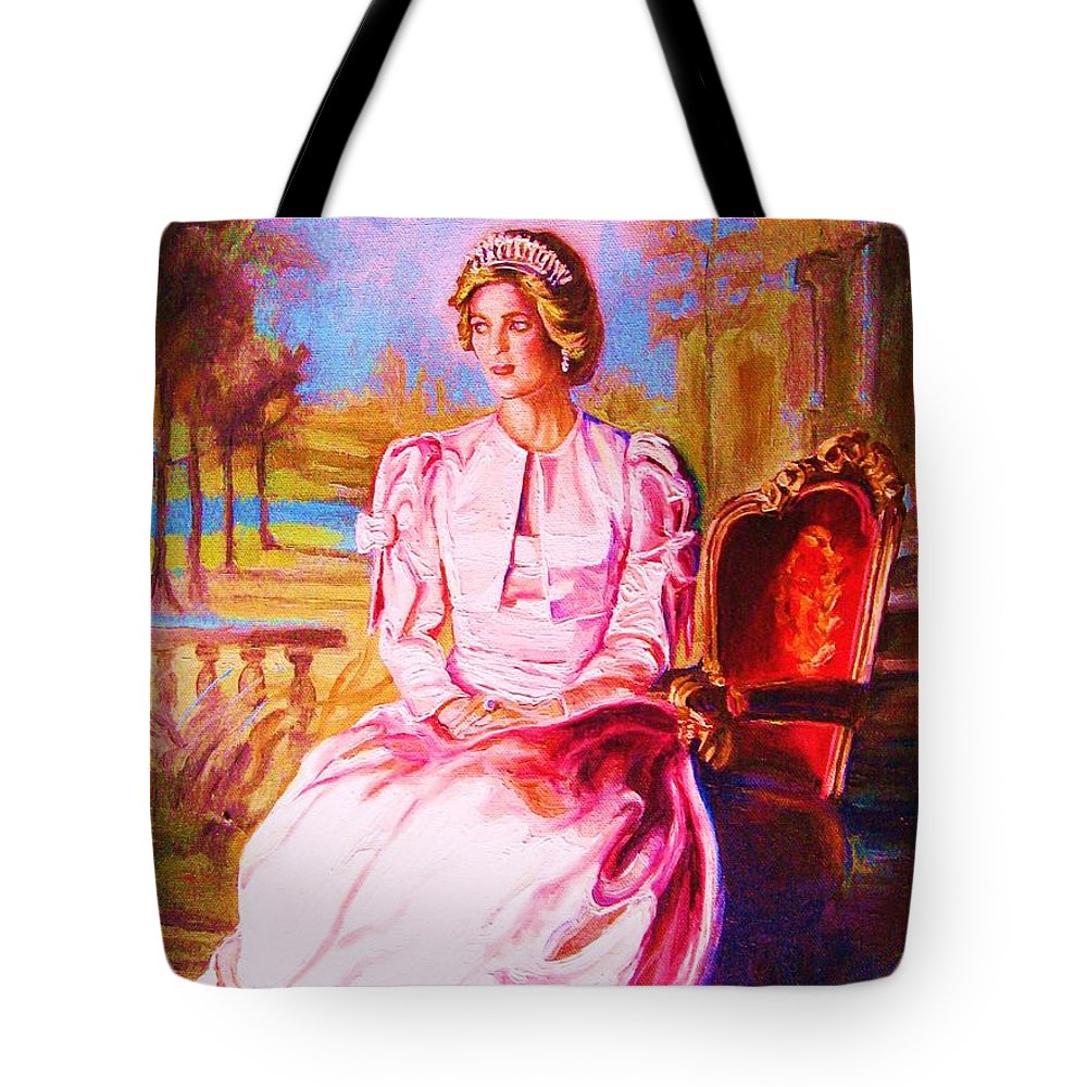 Princess Diana Tote Bag featuring the painting Lady Diana Our Princess by Carole Spandau