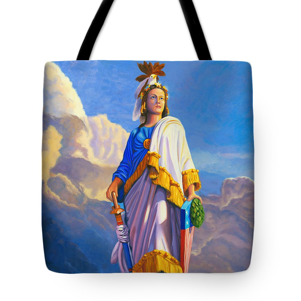 Lady Tote Bag featuring the painting Lady Freedom by Steve Simon