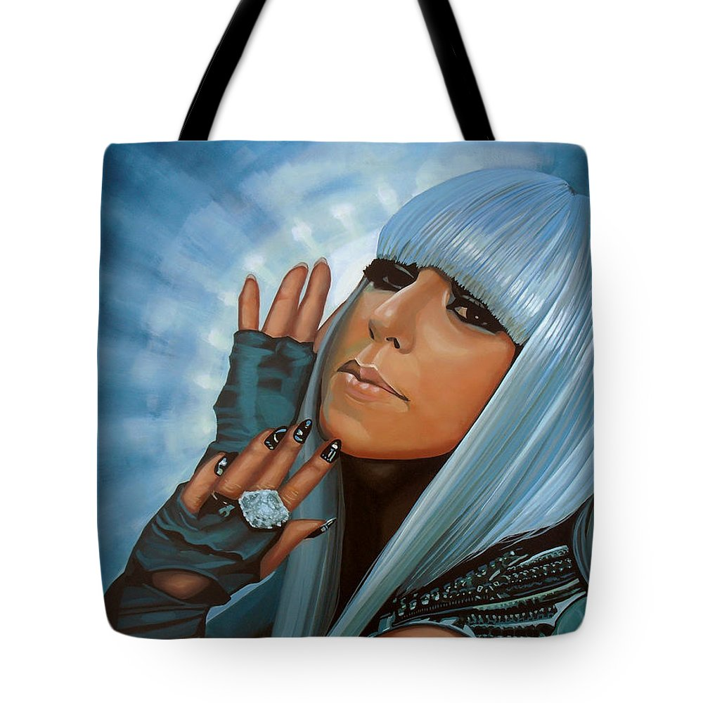 Lady Gaga Tote Bag featuring the painting Lady Gaga Painting by Paul Meijering