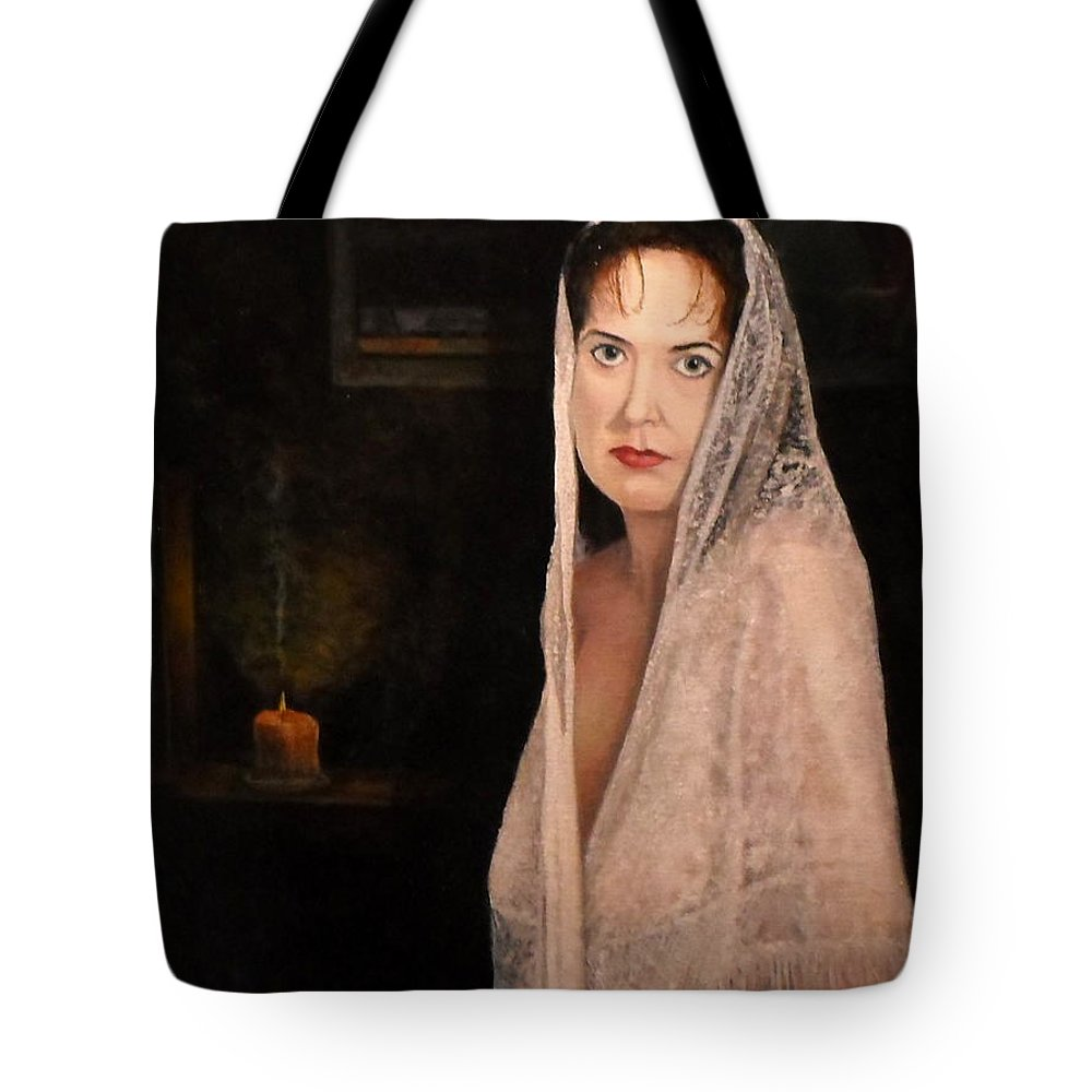 Portrait Tote Bag featuring the painting Lady In Lace Mantilla by Michael John Cavanagh