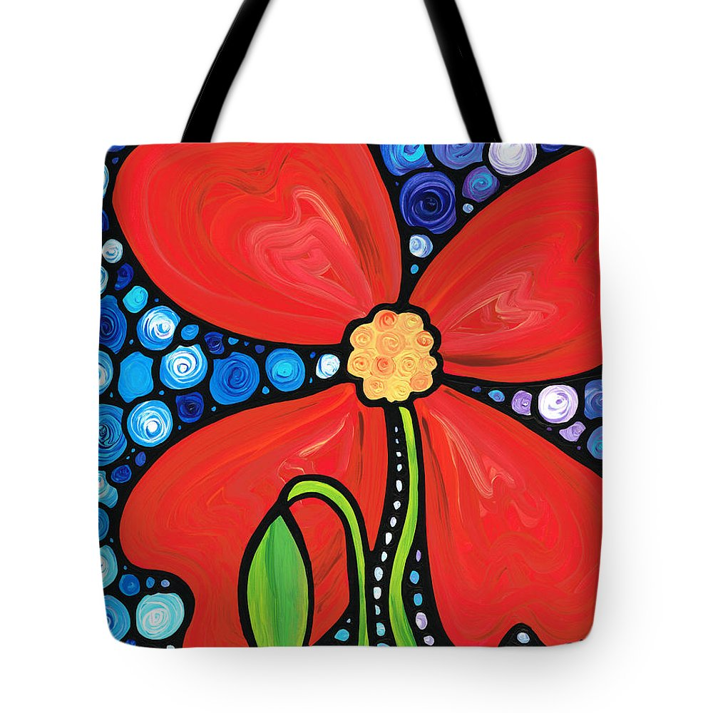 Red Poppy Tote Bag featuring the painting Lady In Red 2 - Buy Poppy Prints Online by Sharon Cummings