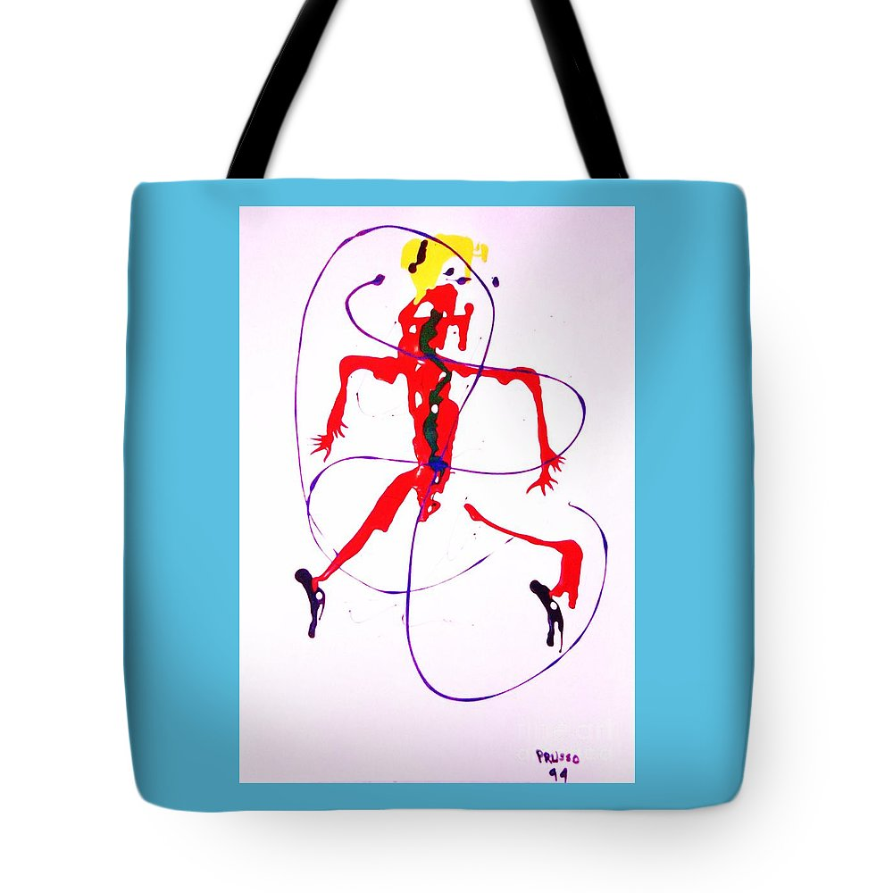 Semi-abstract Tote Bag featuring the painting Lady In Red 2 by Roberto Prusso