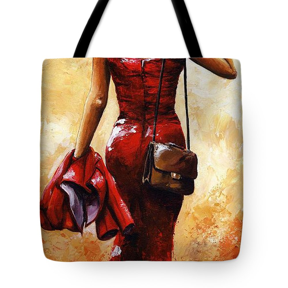 Lady Tote Bag featuring the painting Lady In Red #25 by Emerico Imre Toth