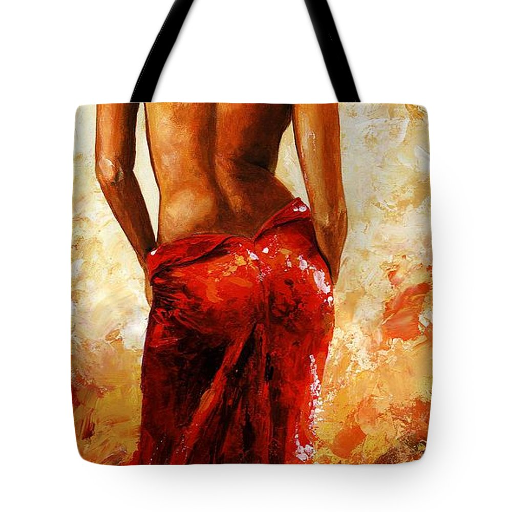Nude Tote Bag featuring the painting Lady In Red 27 by Emerico Imre Toth