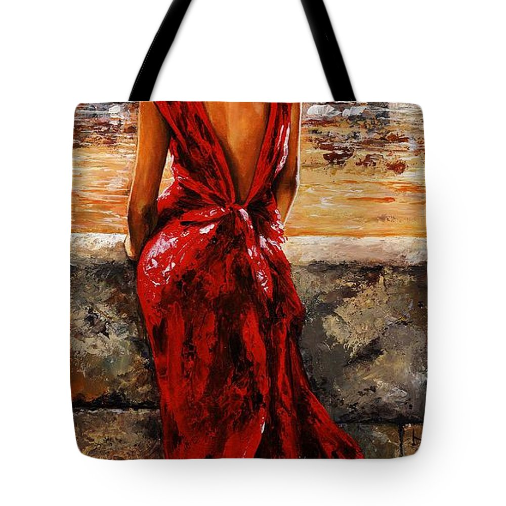 Lady Tote Bag featuring the painting Lady In Red 34 - I Love Budapest by Emerico Imre Toth
