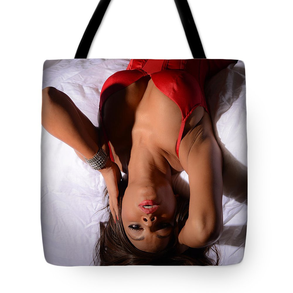 Woman Tote Bag featuring the photograph Lady In Red by Jt PhotoDesign
