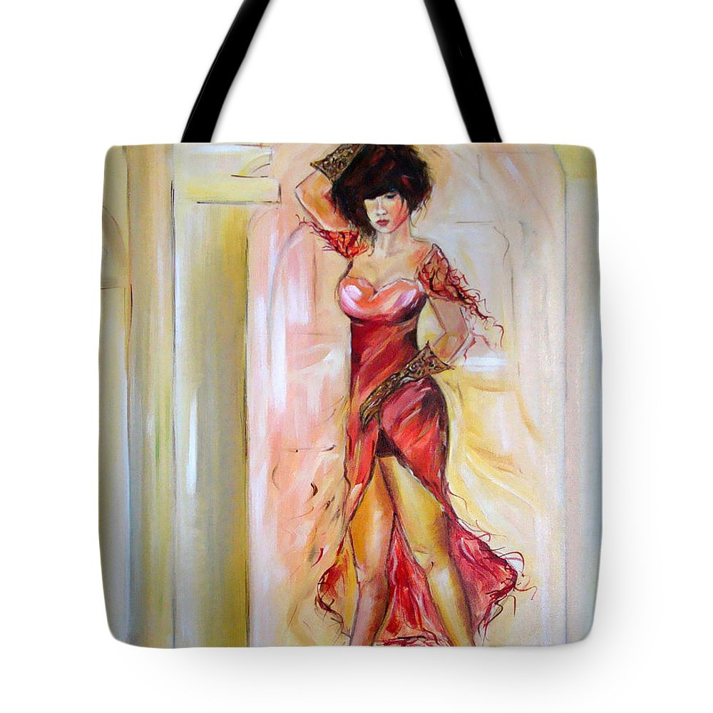 Contemporary Art Tote Bag featuring the painting Lady In Red by Silvana Abel