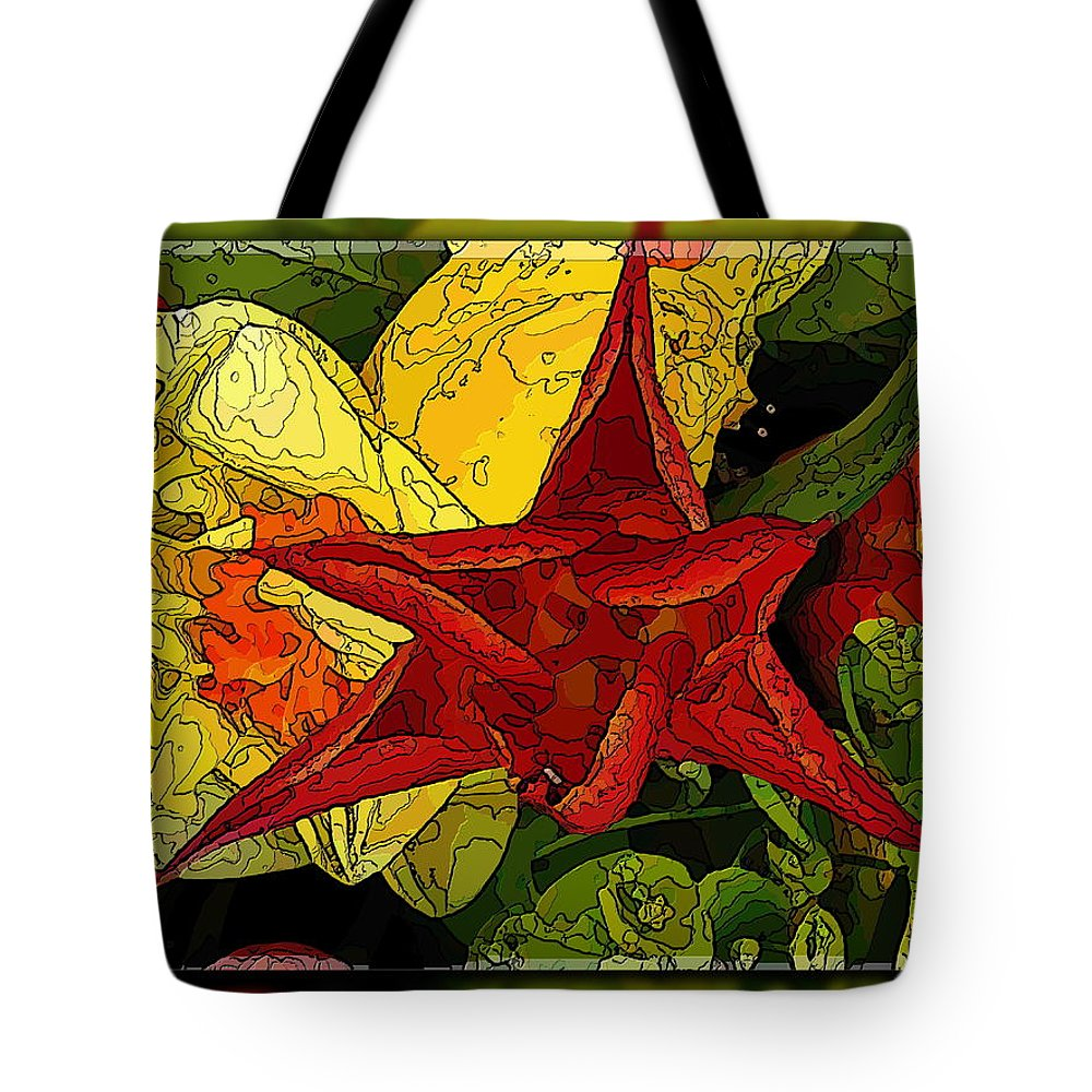 Flower Tote Bag featuring the digital art Lady In Red by Tim Allen