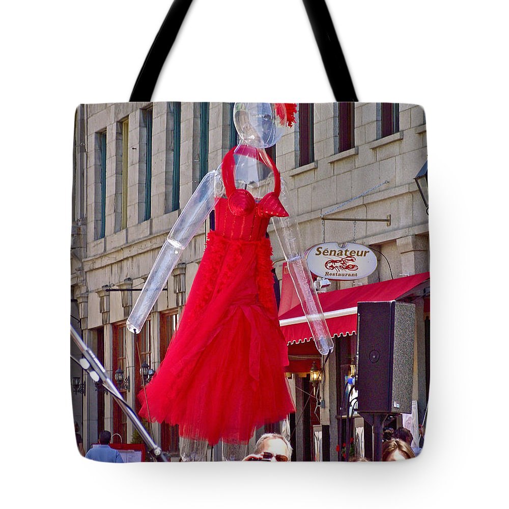 Lady In Red Watching Filming Of Today Show In Old Montreal Tote Bag featuring the photograph Lady In Red Watching Filming Of Today Show In Old Montreal-qc by Ruth Hager