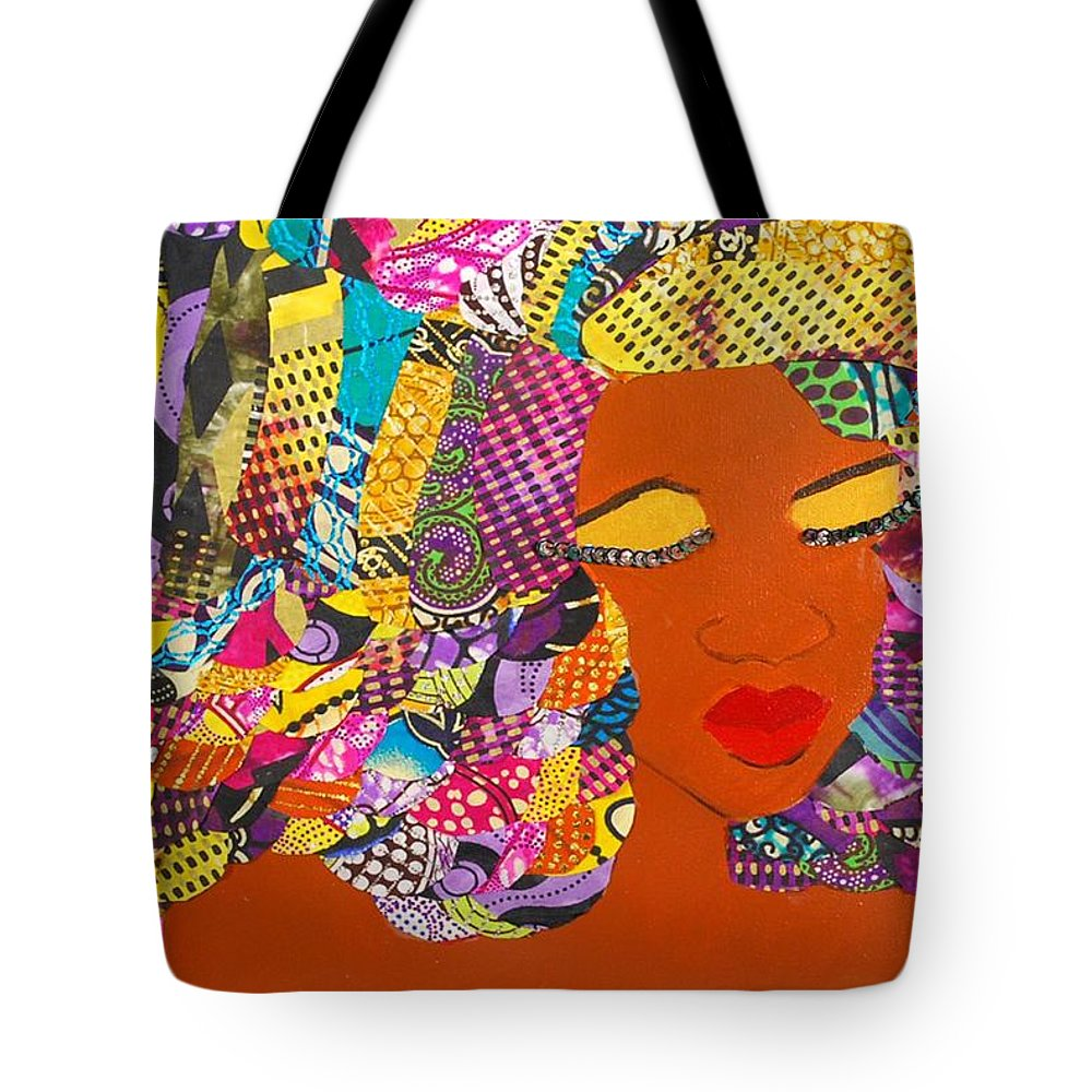Afro Art Tote Bag featuring the tapestry - textile Lady J by Apanaki Temitayo M
