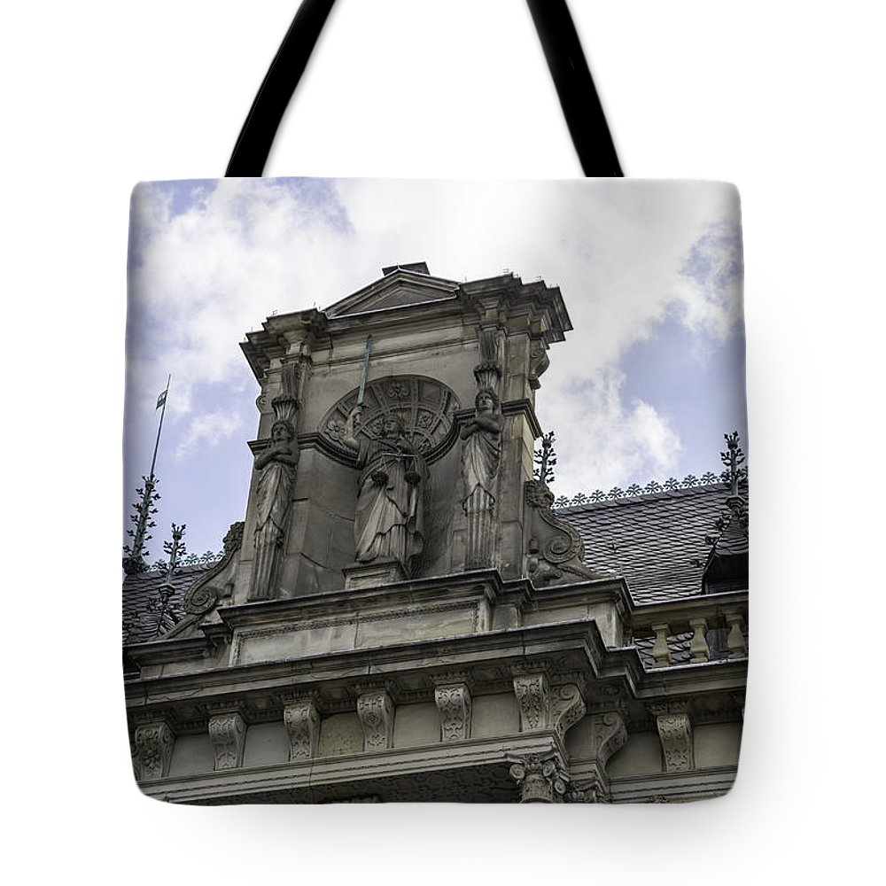 2014 Tote Bag featuring the photograph Lady Justice City Hall Cologne Germany by Teresa Mucha