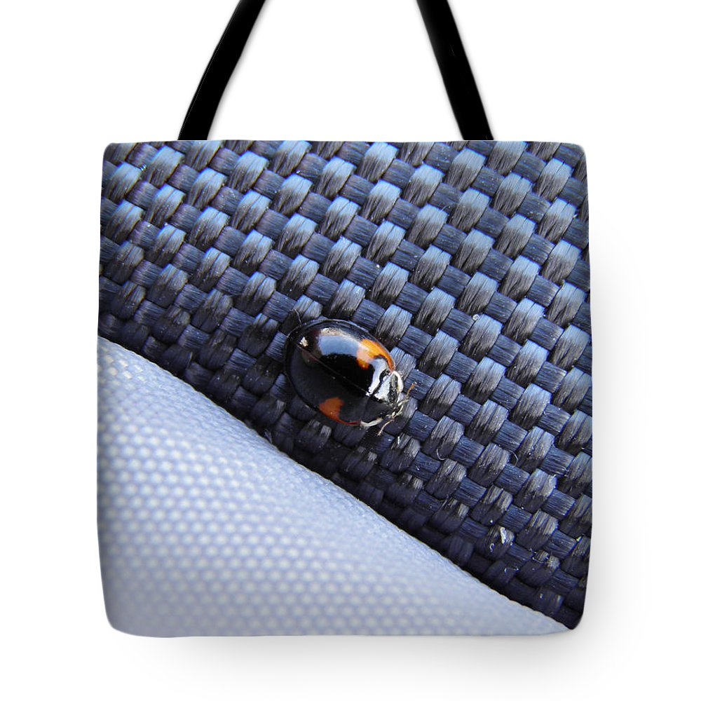 Ladybug Tote Bag featuring the photograph Lady Ladybug And Artificial Surfaces by Leone M Jennarelli