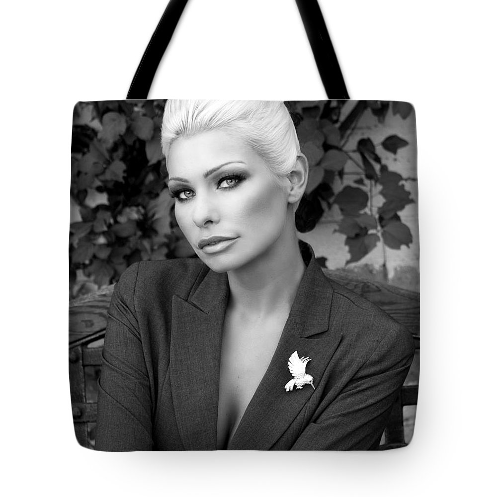 Blonde Tote Bag featuring the photograph Lady Of Solitude Bw Palm Springs by William Dey