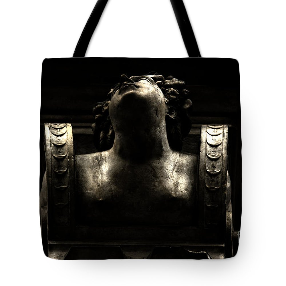 City Hall Tote Bag featuring the photograph Lady On The City Hall by Four Hands Art