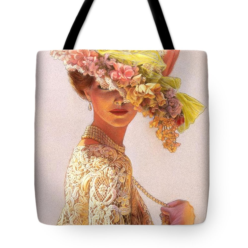 Portrait Tote Bag featuring the painting Lady Victoria Victorian Elegance by Sue Halstenberg