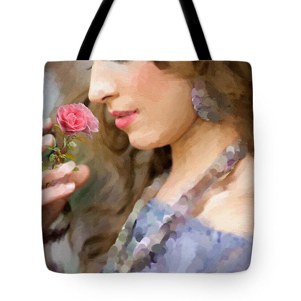 Woman Tote Bag featuring the painting Lady With Pink Rose by Angela Stanton