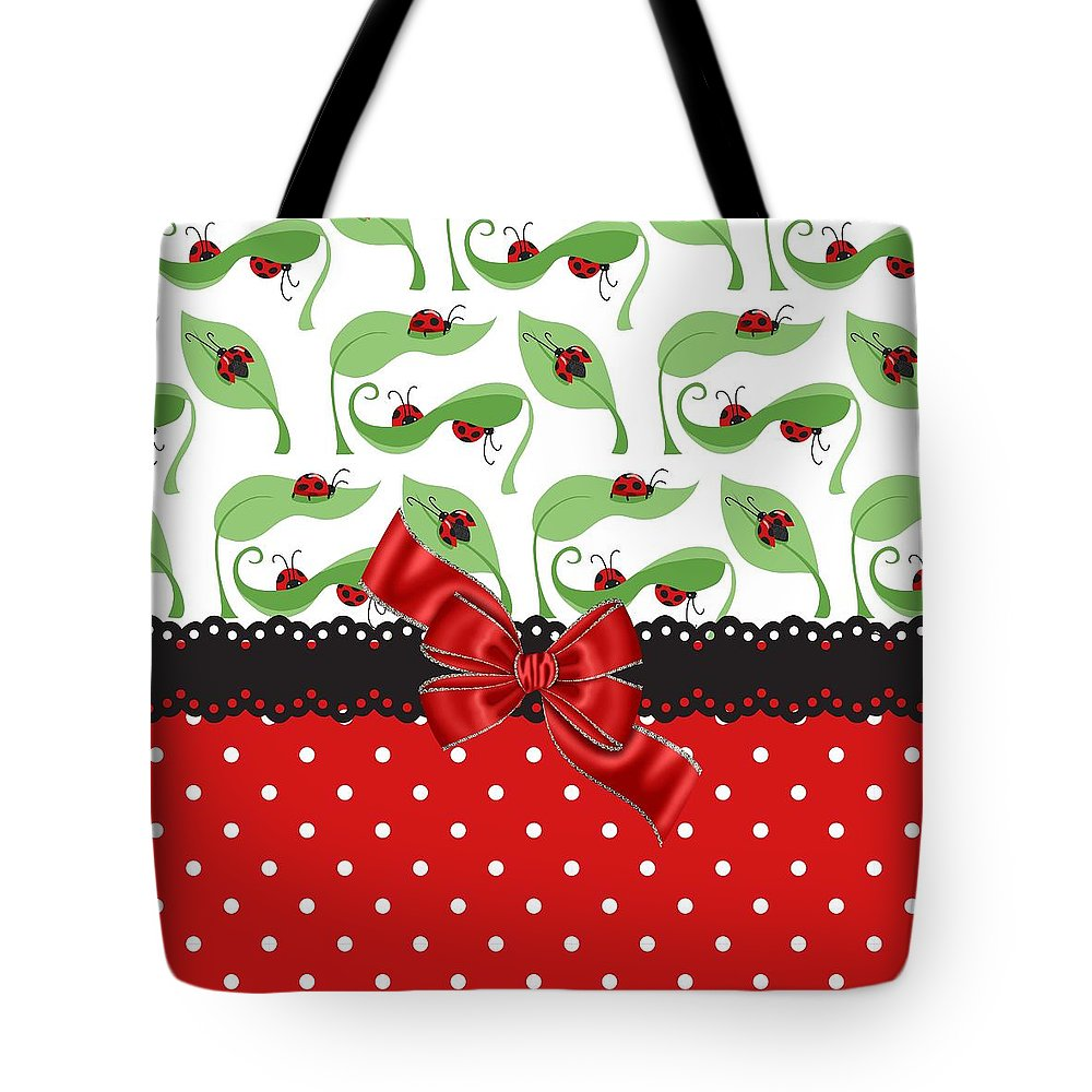 Red Ribbon Tote Bag featuring the digital art Ladybug Delight by Debra Miller