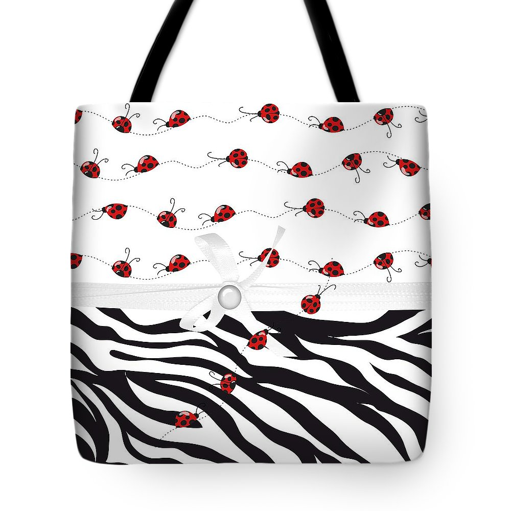 Leopard Print Tote Bag featuring the digital art Ladybug Entwined by Debra Miller