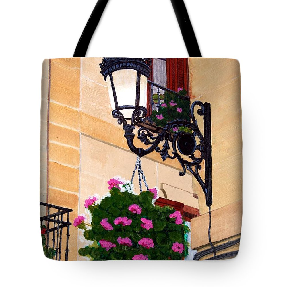 Street Lamp Tote Bag featuring the painting Laguardia Street Lamp by Mike Robles