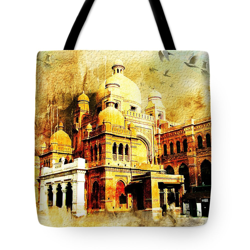 Pakistan Tote Bag featuring the painting Lahore Museum by Catf
