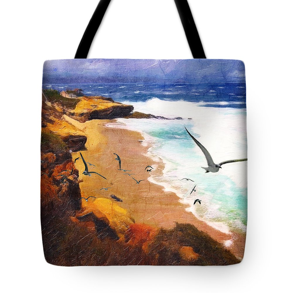 Ocean Tote Bag featuring the digital art Lajolla Afternoon by Lianne Schneider