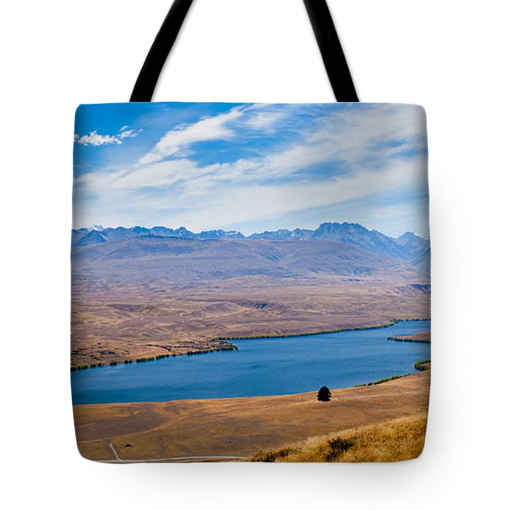 South Island Tote Bag featuring the photograph Lake Alexandrina In Canterbury On South Island Of Nz by Stephan Pietzko