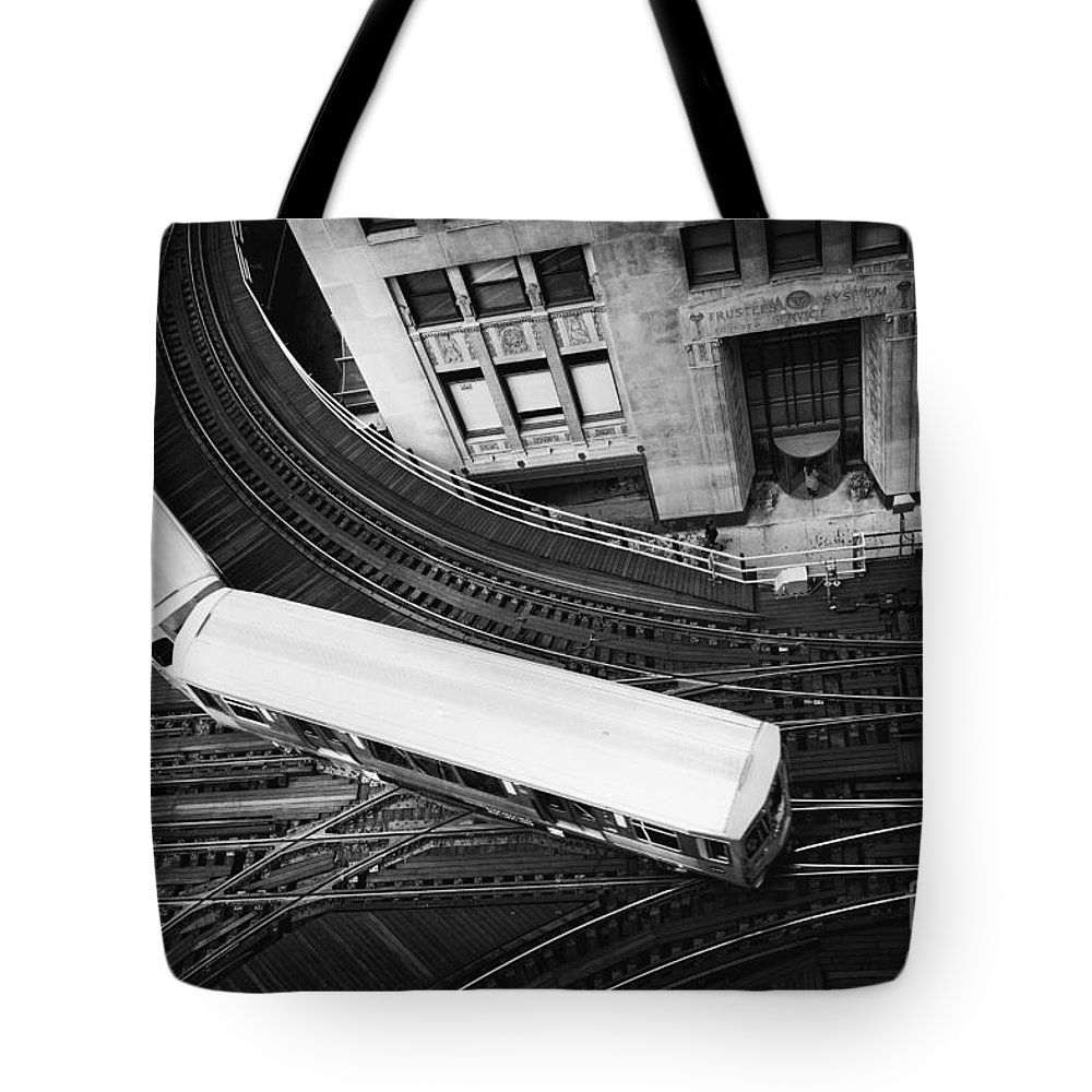 Chicago; Illinois; United States; America; United States Of America; Usa; Us; Lake Michigan; Lake Street; Wells Street; Windy City; City; Building; Architecture; View; El; Train; Subway; Train Tracks; Tracks; Turn; Bend; Top; Commute; Elevated; Loop Tote Bag featuring the photograph Lake And Wells by Margie Hurwich