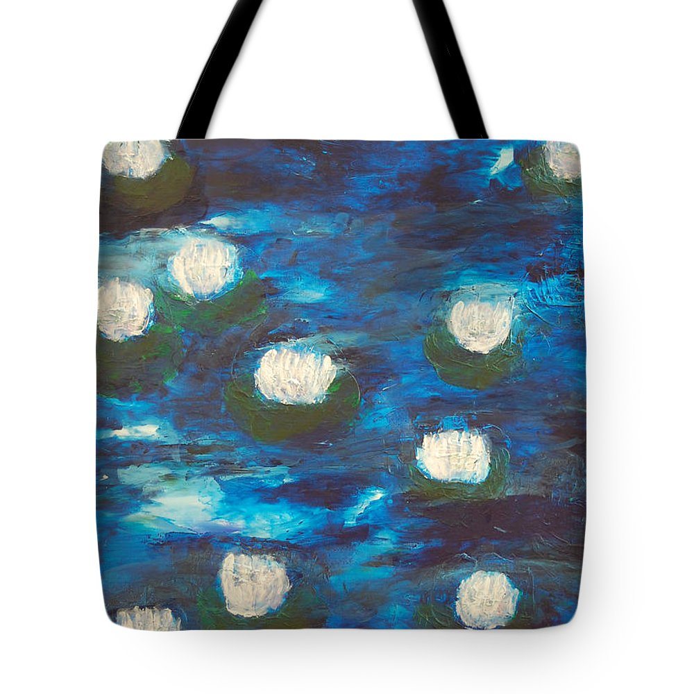 Blue Tote Bag featuring the painting Lake At Night by Sirenes