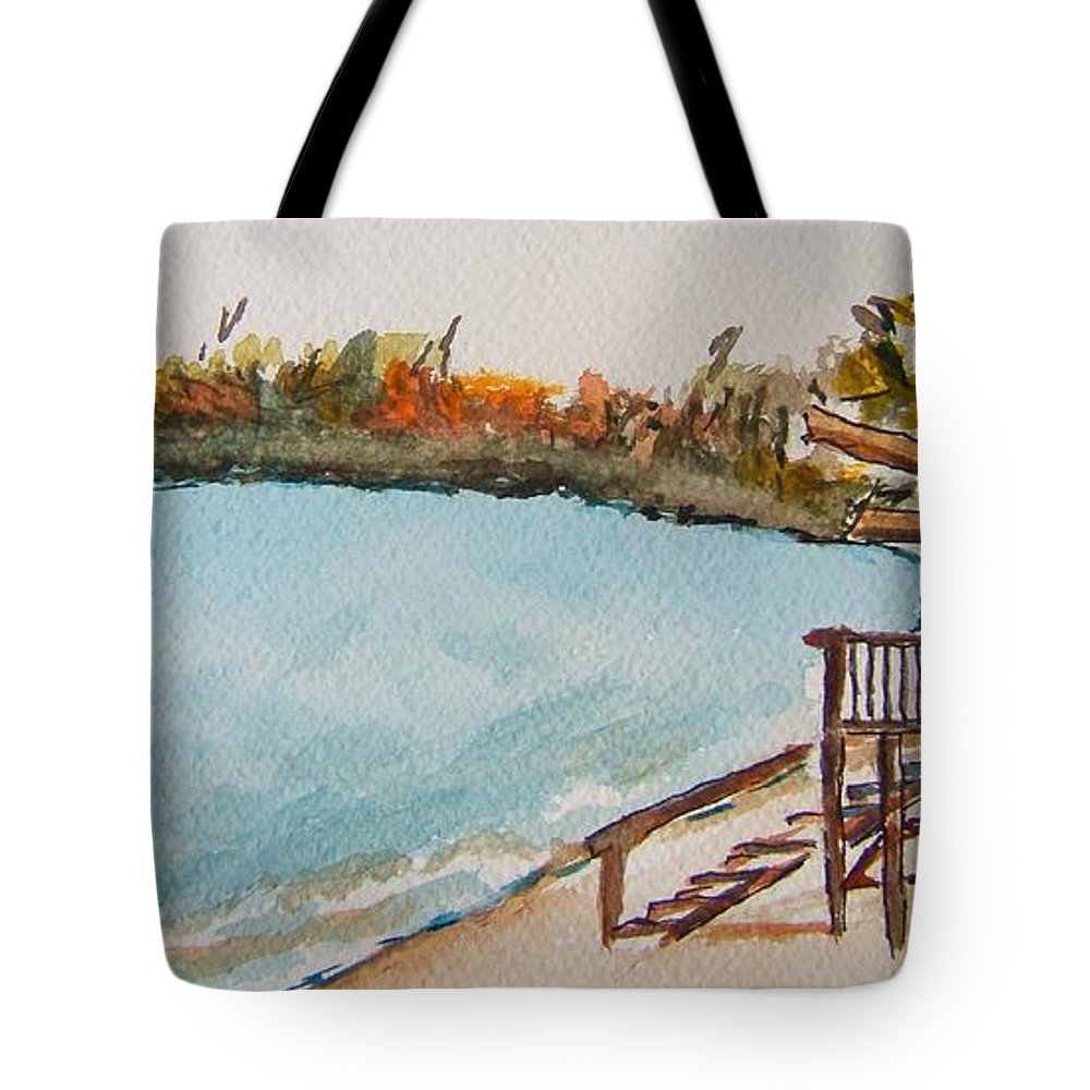 Lake Geneva Tote Bag featuring the painting Lake Geneva Shoreline by Elaine Duras