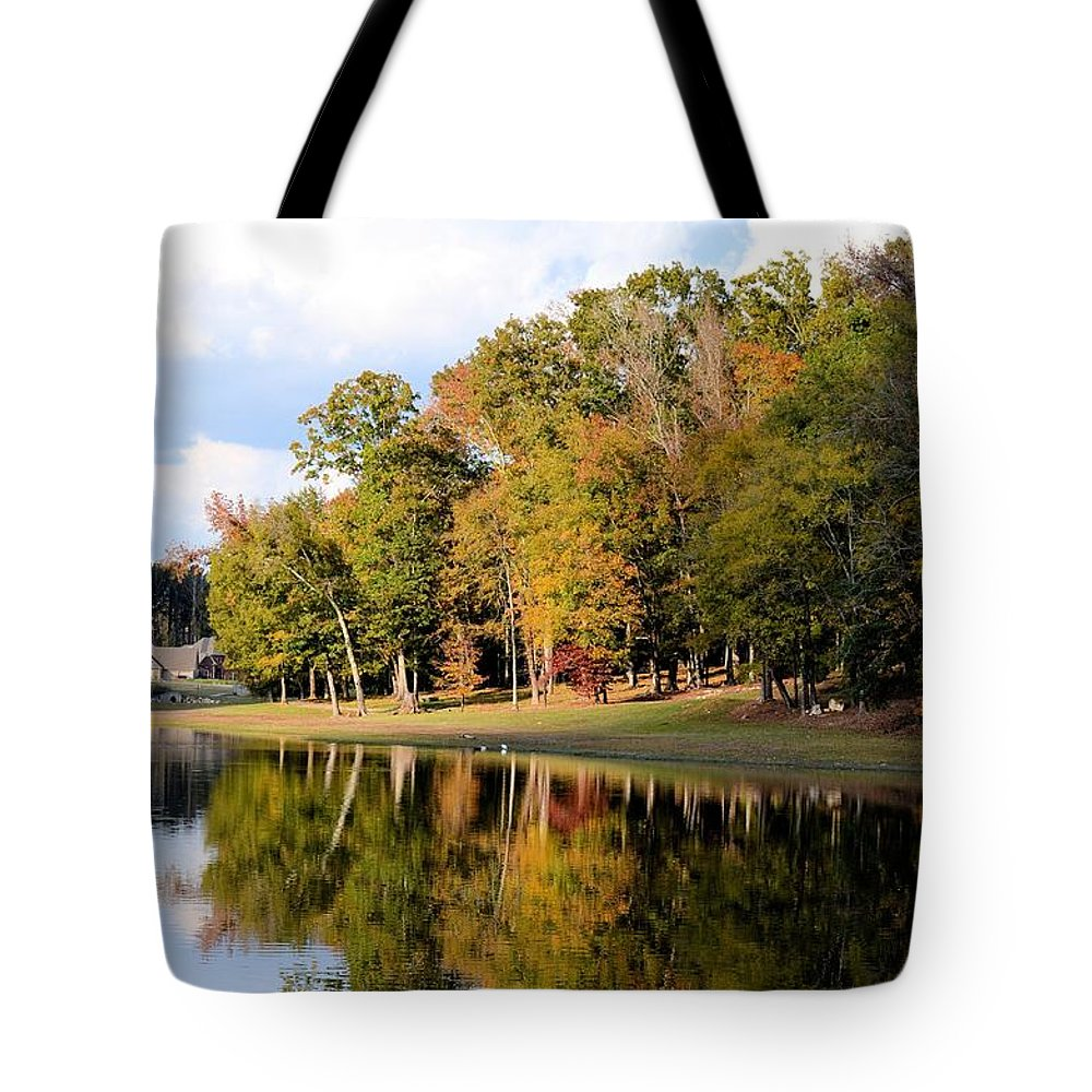 Lake House In Autumn Tote Bag featuring the photograph Lake House In Autumn by Maria Urso