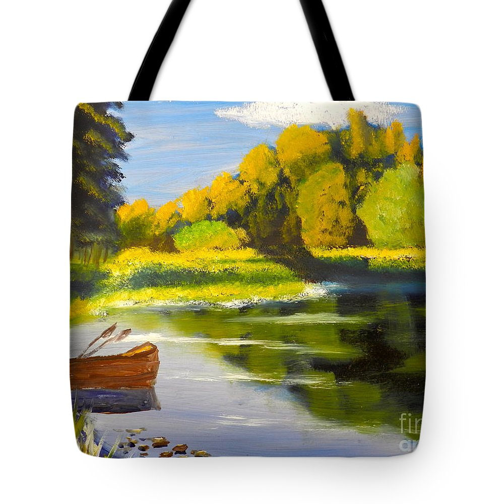 Impressionism Tote Bag featuring the painting Lake Illawarra At Primbee by Pamela Meredith